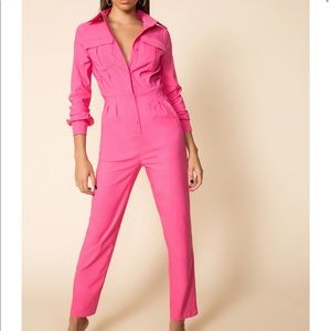 Superdown Alicia Hot Pink Jumpsuit